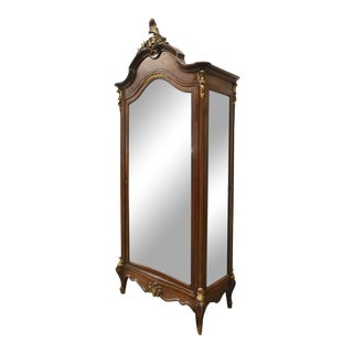 Early 20th Century Vintage Mirrored Italian Louis XV Style Walnut Armoire For Sale