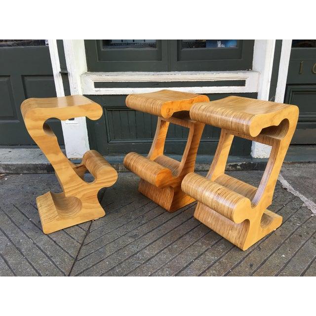 Wood 1980s Vintage Joe Manus Plywood Stools- Set of 3 For Sale - Image 7 of 11