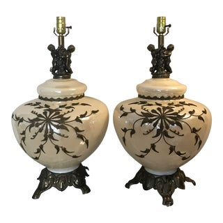 1950s Mid Century Hollywood Regency Opalescent Glass Globe Lamps - a Pair For Sale