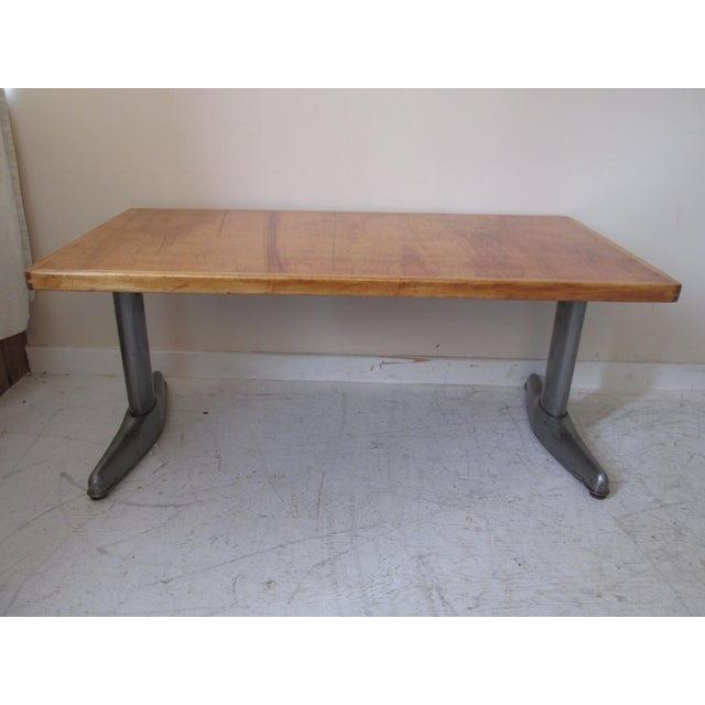 Vintage Institutional Style Maple & Steel Coffee Table - Image 3 of 10