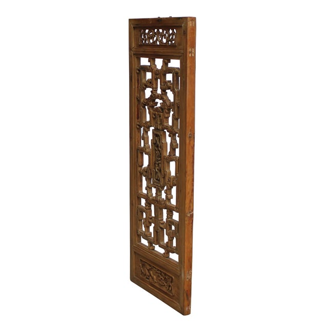 This is a vintage wood wall panel with ancient Chinese carving motif and design. It has precise dimensional relief...