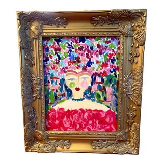 """""""Abstract Lady"""" Contemporary Expressionist Style Painting by Ebony Boyd, Framed For Sale"""
