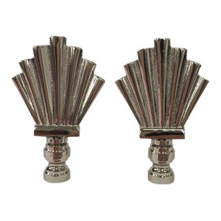 Silver Art Deco Fan Finials - A Pair