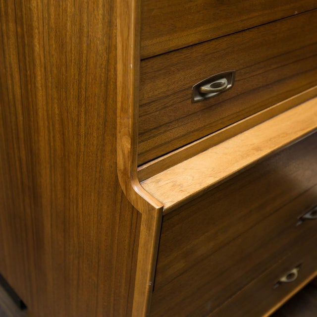 Mid-Century Drexel Composite Walnut High Chest For Sale - Image 5 of 11