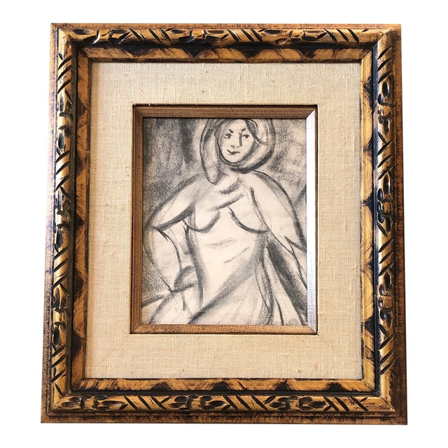 Original Vintage Charcoal Female Nude Study Matisse Style For Sale