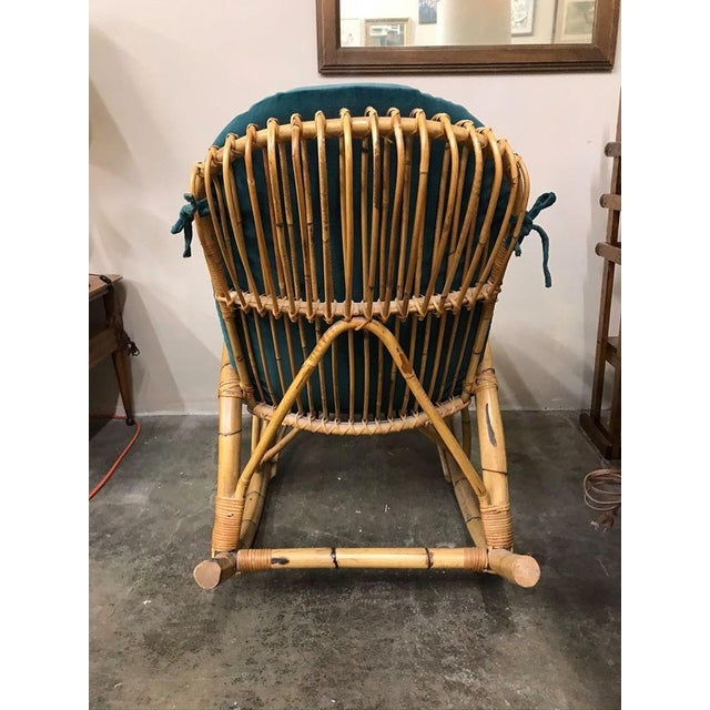 1960s Franco Albini Rattan Bamboo Rocking Chair For Sale - Image 6 of 11