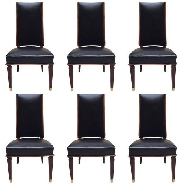 Black Six Leather Dining Chairs For Sale - Image 8 of 8