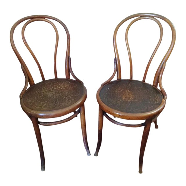19th Century Primitive Embossed Seat Thonet Bentwood Chairs- a Pair For Sale - 19th Century Primitive Embossed Seat Thonet Bentwood Chairs- A Pair