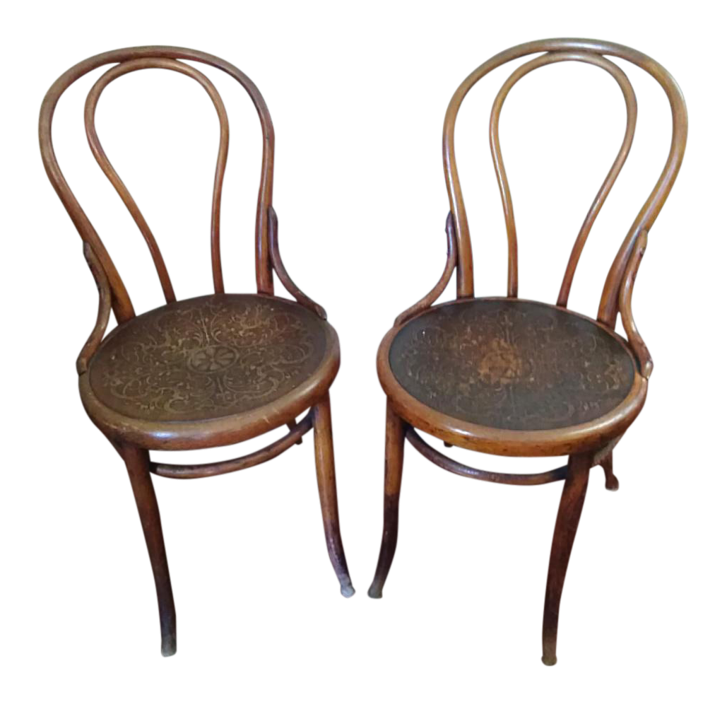 19th Century Primitive Embossed Seat Thonet Bentwood Chairs- a Pair For Sale  sc 1 st  Chairish & 19th Century Primitive Embossed Seat Thonet Bentwood Chairs- a Pair ...