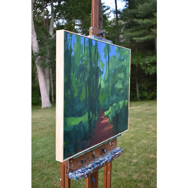 "Green Stephen Remick ""A Walk in the Woods"" Contemporary Painting For Sale - Image 8 of 12"