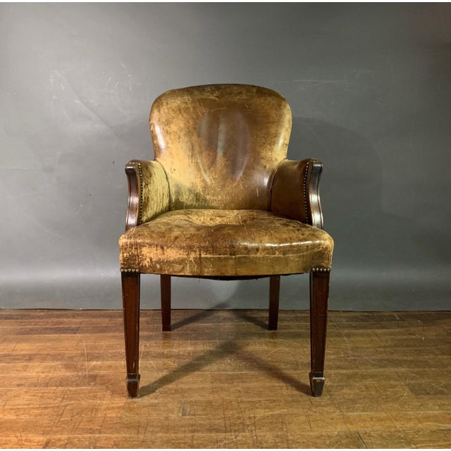 English Early 1900s English Leather & Mahogany Library Chair For Sale - Image 3 of 11