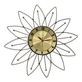 Mid-Century Lux Starburst Wall Clock For Sale