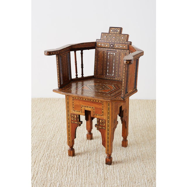 Islamic Syrian Armchair With Inlay Moorish Designs For Sale - Image 3 of 13
