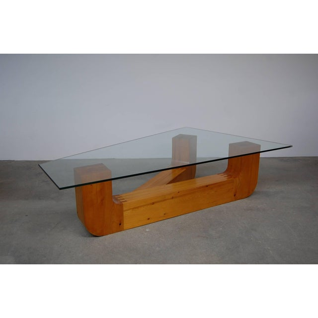 Sculptural coffee table by Jennie Lea Knight (1933-2007), circa 1960. The base is constructed of laminated southern yellow...