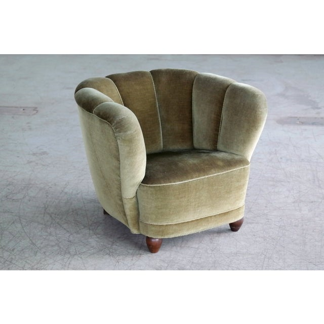 1940s Danish 1940s Viggo Boesen Style Club Chair in Beech and Mohair For Sale - Image 5 of 10