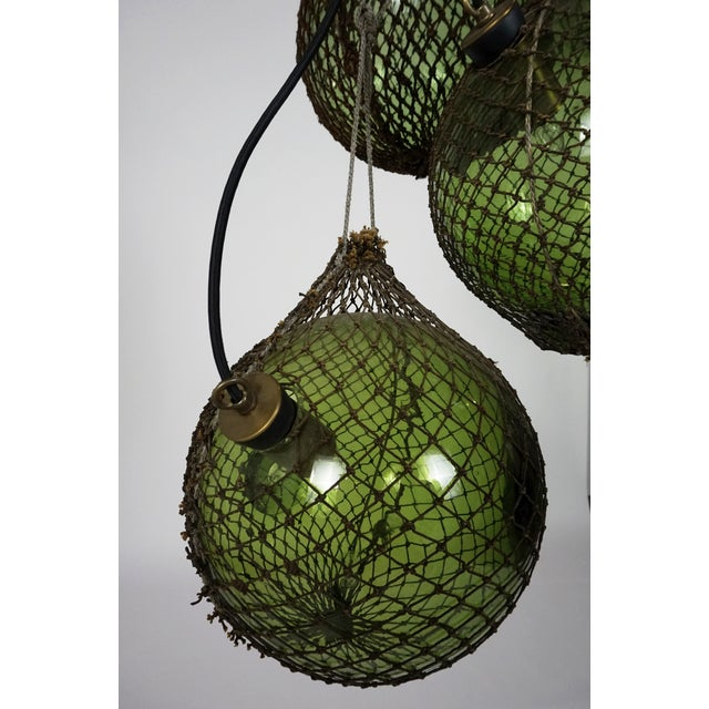 Metal Antique Japanese Green Glass Fishing Floats 3-Light Pendant For Sale - Image 7 of 9