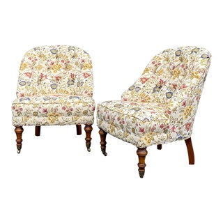 Tufted Floral Slipper Chairs - a Pair For Sale
