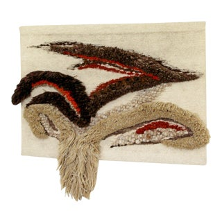 1970s Vintage Mid Century Modern Hand Woven Wool Fiber Wall Art For Sale