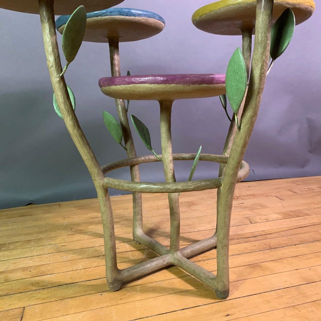 French Artist Designed Polychrome Resin Plant Stand For Sale - Image 4 of 11