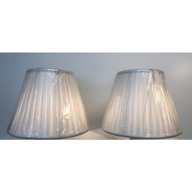 Metal Arts and Craft Ceramic Matt Green Table Lamps With Box Pleated Shades - a Pair For Sale - Image 7 of 8