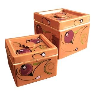 1930s Japanese Art Deco Porcelain Boxes-a Pair For Sale