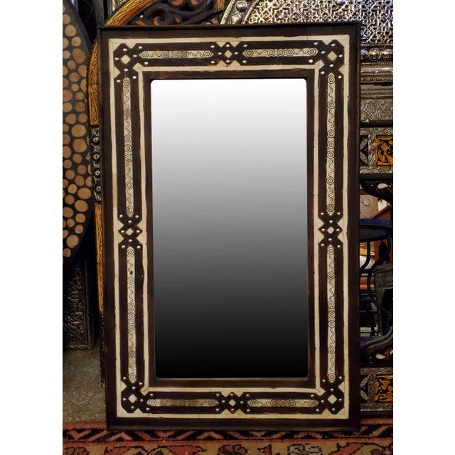 Metal Medium Size Moroccan Rectangular Resin Inlay Mirror For Sale - Image 7 of 7