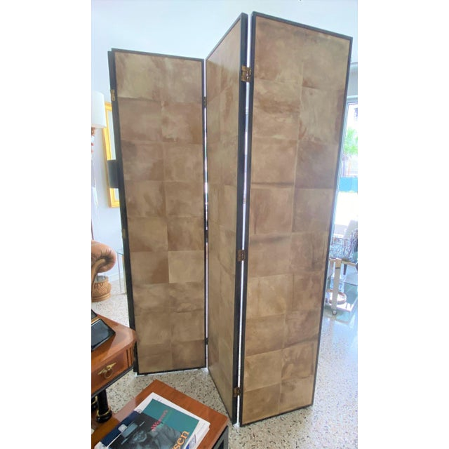 Tan Vintage Jean Michel Frank Style Parchment Room Divider Screen For Sale - Image 8 of 11