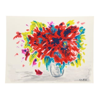 Abstract Contemporary Floral Painting by Cleo For Sale