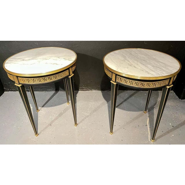 Bronze Jansen Style Bouliotte / End Tables Bronze Mounted - a Pair For Sale - Image 8 of 13