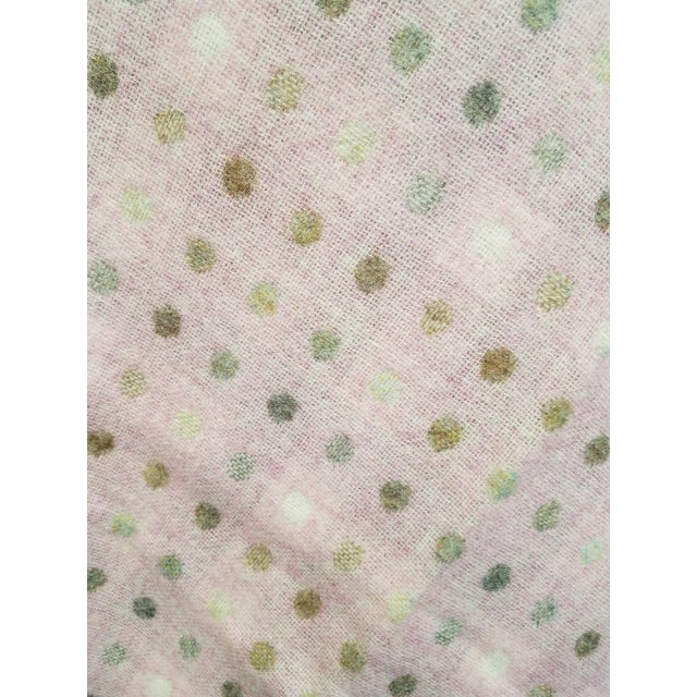 Wool Throw Brown and White Polka Dots on Pink Background - Made in England For Sale - Image 11 of 13