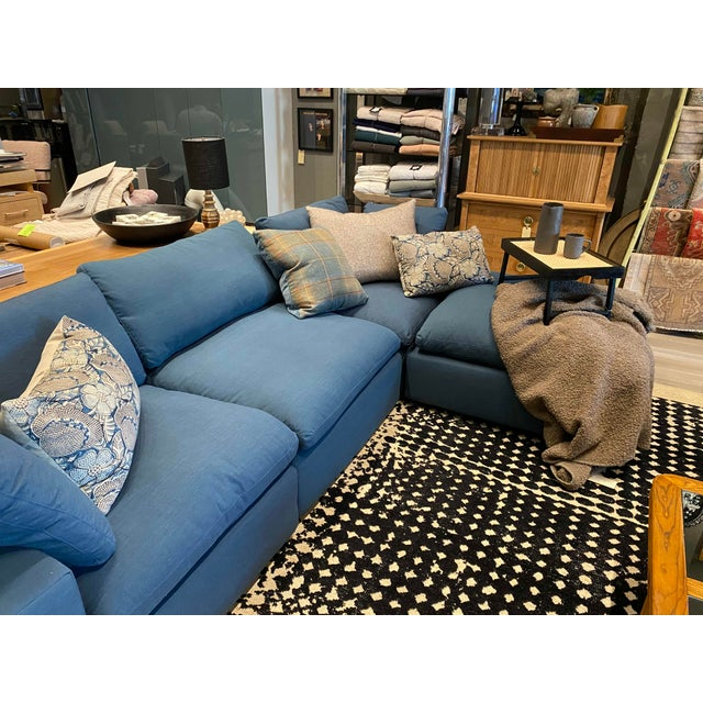 Overstuffed Blue Linen 4 Piece Sectional Sofa For Sale In Los Angeles - Image 6 of 13
