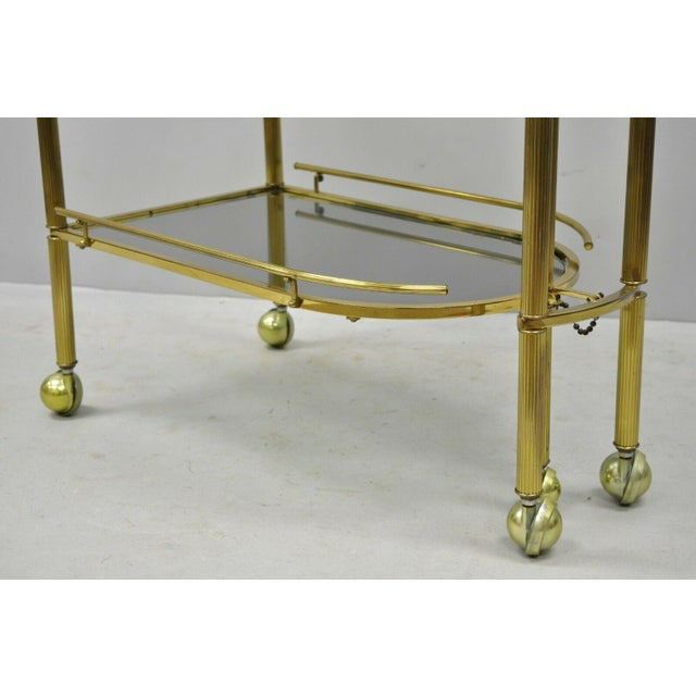 20th Century Hollywood Regency Swivel Rolling Bar Cart For Sale - Image 10 of 13