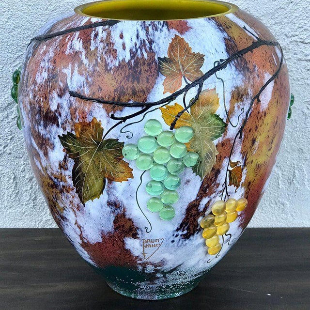 Large Art Glass Vase With Applied Grapes, After Daum Nancy For Sale - Image 10 of 13