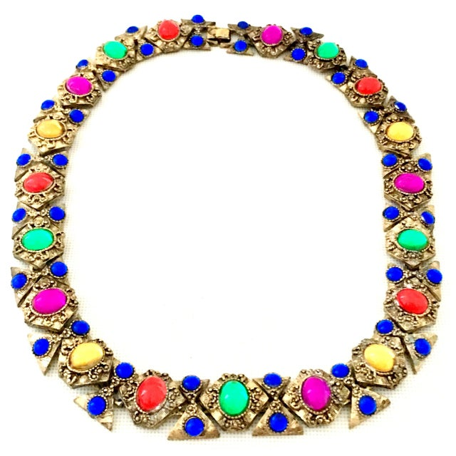 20th Century Etruscan Style Gold Molded Glass Choker Necklace & Bracelet - a Pair For Sale - Image 4 of 13
