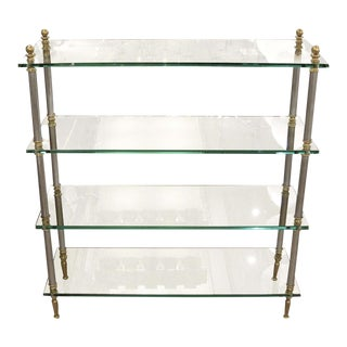 1960s Brass, Glass and Nickel Four Shelf Etagere For Sale