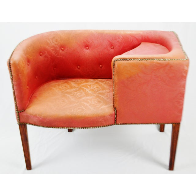 Vintage Red Jacquard Vinyl Barrel Back Gossip Bench Telephone Chair Hall Bench For Sale - Image 13 of 13