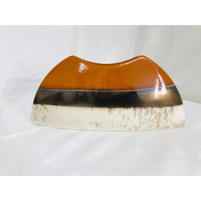 Brown Contemporary Oblong Decorative Centerpiece Glazed Pottery Vase For Sale - Image 8 of 8