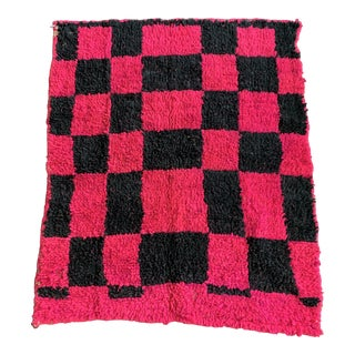 Pink and Black Checkered Postmodern Moroccan Berber Wool Rug - 3′5″ × 4′ For Sale