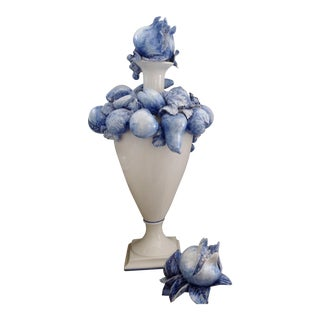 Deruta Italian Blue and White Painted Porcelain Urn For Sale