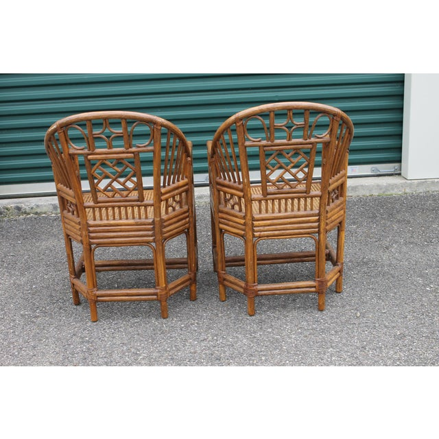 Chinoiserie Bamboo Rattan Brighton Pavilion Chairs - a Pair For Sale In Cincinnati - Image 6 of 9