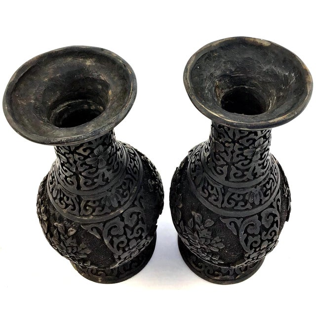 1940s 1940s Vintage Chinese Hand Carved Resin Vases- a Pair For Sale - Image 5 of 10