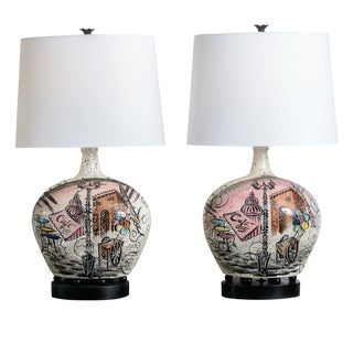 French C.1950 Rare Hand Painted Ceramic Lamps, A-Pair For Sale
