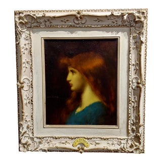 Jean Jacques Henner -Portrait of a Beautiful Red Haired Girl-Oil Painting For Sale