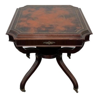 Vintage Mahogany Lamp Table With Tooled Leather Top For Sale