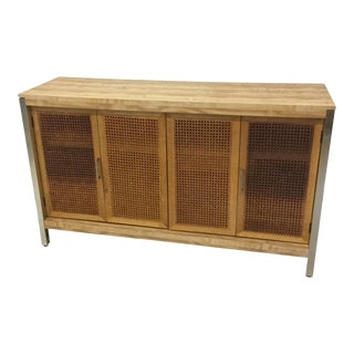 Faux Wood, Wicker & Chrome Server For Sale