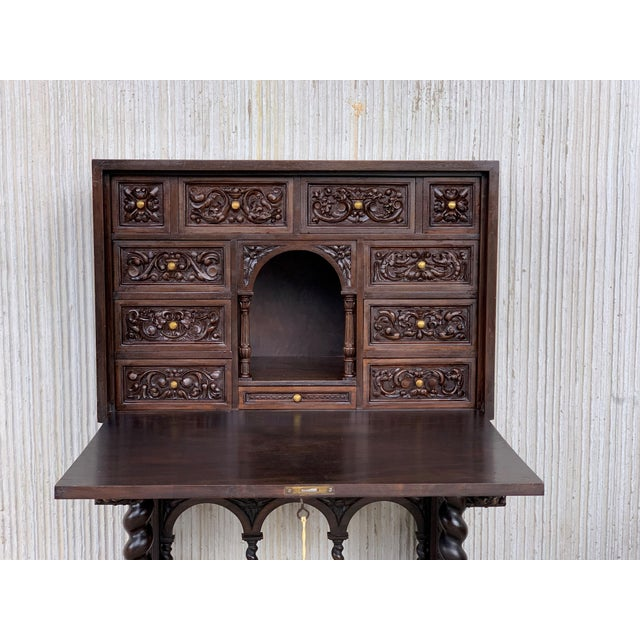 Late 18th Century 18th Spanish Bargueno of Columns With Foot Bridge, Cabinet on Stand For Sale - Image 5 of 13