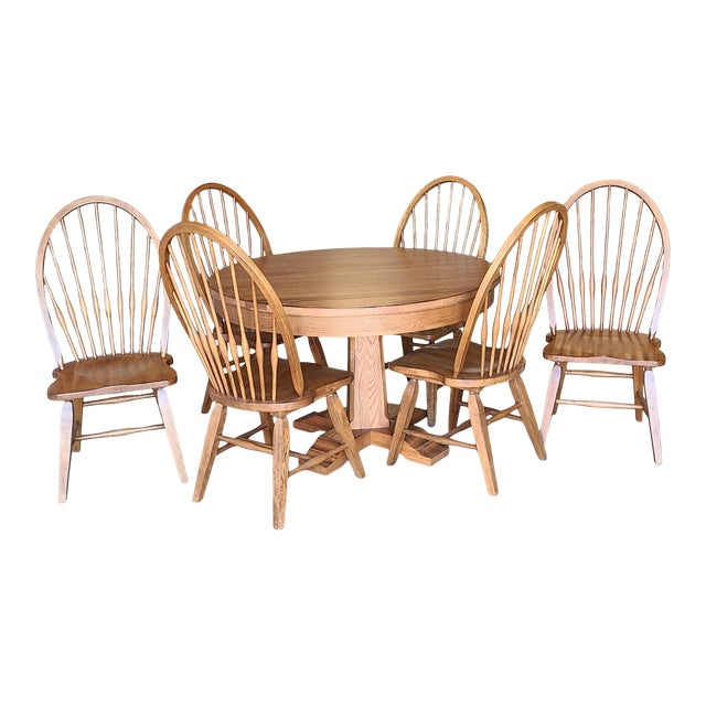 Broyhill Furniture Attic Heirlooms Dining Kitchen Set ~ Solid Oak Table W/ 6 Windsor Side Chairs For Sale