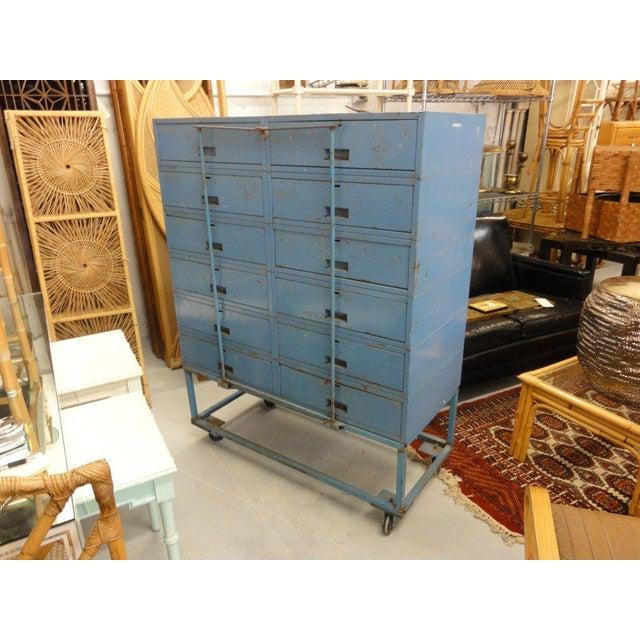 Vintage Blue Industrial Metal Cabinet - Image 11 of 11