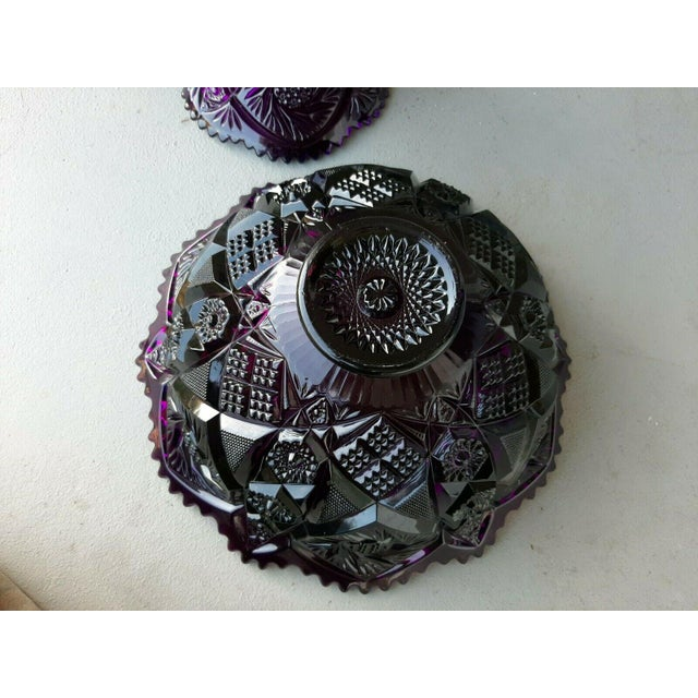 Traditional Mid 20th Century Large Imperial Whirling Star Amethyst Glass Punch Bowl With Stand For Sale - Image 3 of 13