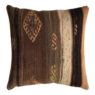 20th Century Medium Brown and Tan Turkish Kilim Pillow